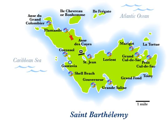 Lorient Beach St Barts Map Tidal Treasures - Saint barthelemy map