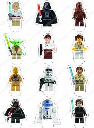 12 × Décorations Cakeshop comestibles PRÉ-DÉCOUPÉES Lego Star Wars