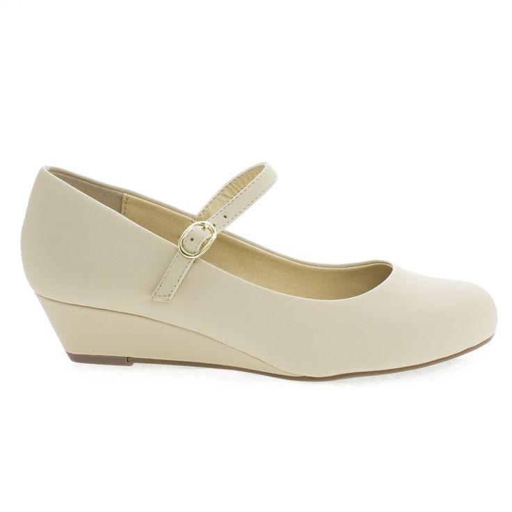 Walker Round Toe Mary Jane Wedge Heels