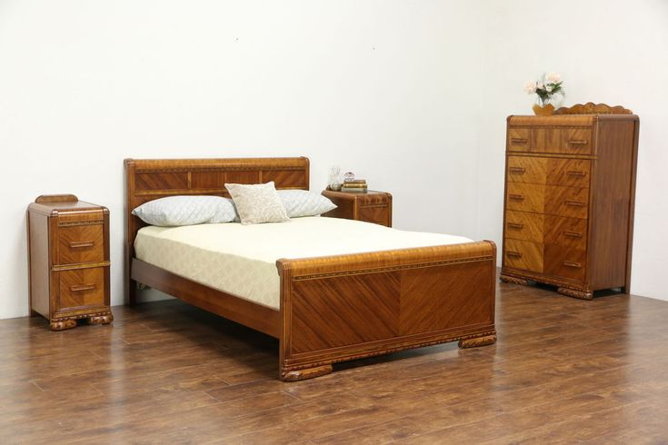 Art Deco Waterfall 4 Pc Bedroom Set, Full Size Bed, 1930's Vintage #ArtDeco