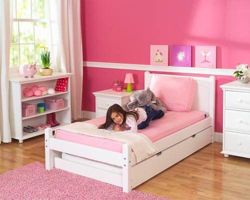 White Platform Bed By Maxtrix Kids Shown W Trundle