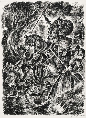 """Jan Marcin SZANCER (1902-1973)  Ilustracja XIV do """"Don Kichota z La Manczy"""", 1946 tusz, piórko, papier; 33 x 27,5 cm (wymiar arkusza),"""