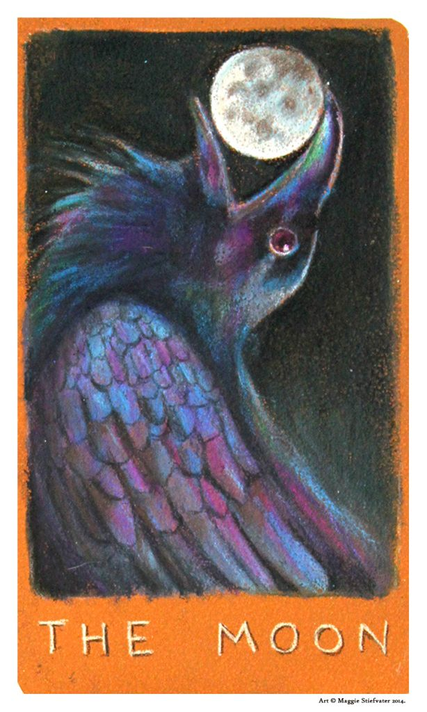 THE MOON Tarot Card is revealed today on GoodBooksandGoodWine.com! Check out the full #BlueLily #TarotTour to see the Major Arcana Tarot Deck designed by Maggie Stiefvater and inspired by her series, The Raven Cycle!