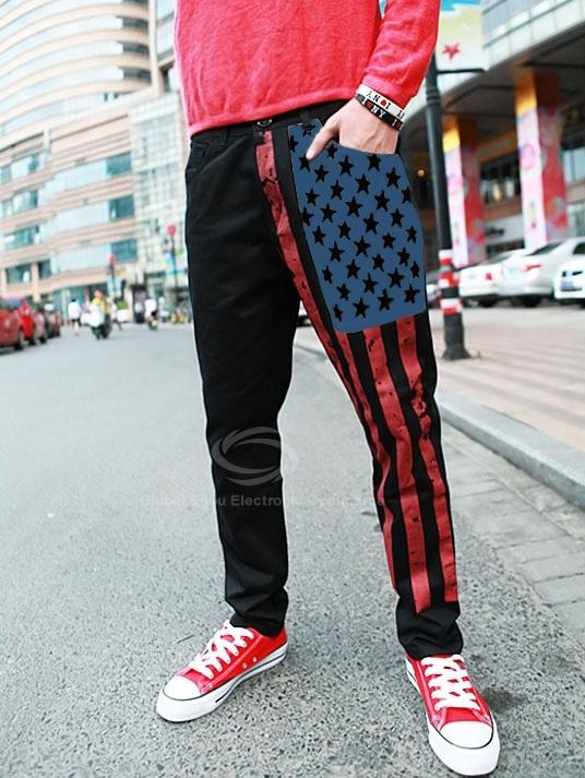 Casual Flags Print Cotton Blend Pants For Men (KHAKI,M) China Wholesale - Sammydress.com