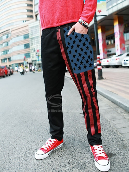 Casual Flags Print Cotton Blend Pants For Men (KHAKI,M) China Wholesale - Sammydress.com