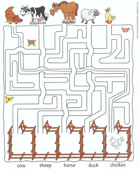 Zoek de weg van de dieren naar hun eigen wei, free printable)