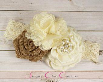 Cream & Ivory Rustic Burlap Headband Burlap by SimplyChicCouture