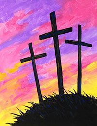 Cut out crosses for toddlers, big art paper, wet down, paint remove