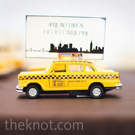 Think creatively when creating escort cards. This taxi is perfect for a wedding in New York City or a New York City themed wedding.