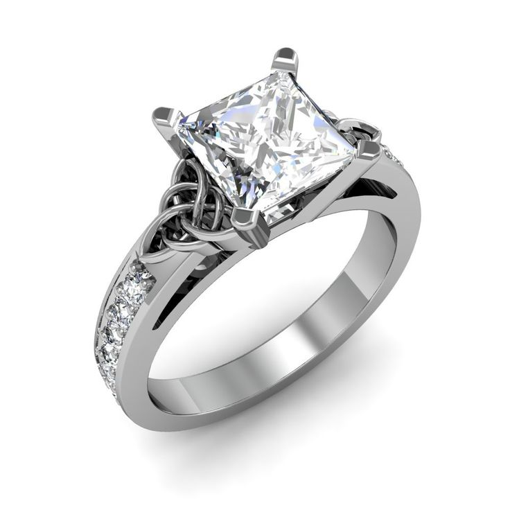 Award winning Hand Crafted Celtic Trinity Knot Engagement Ring with a princess cut natural diamond in the center http://www.diamondmansion.com