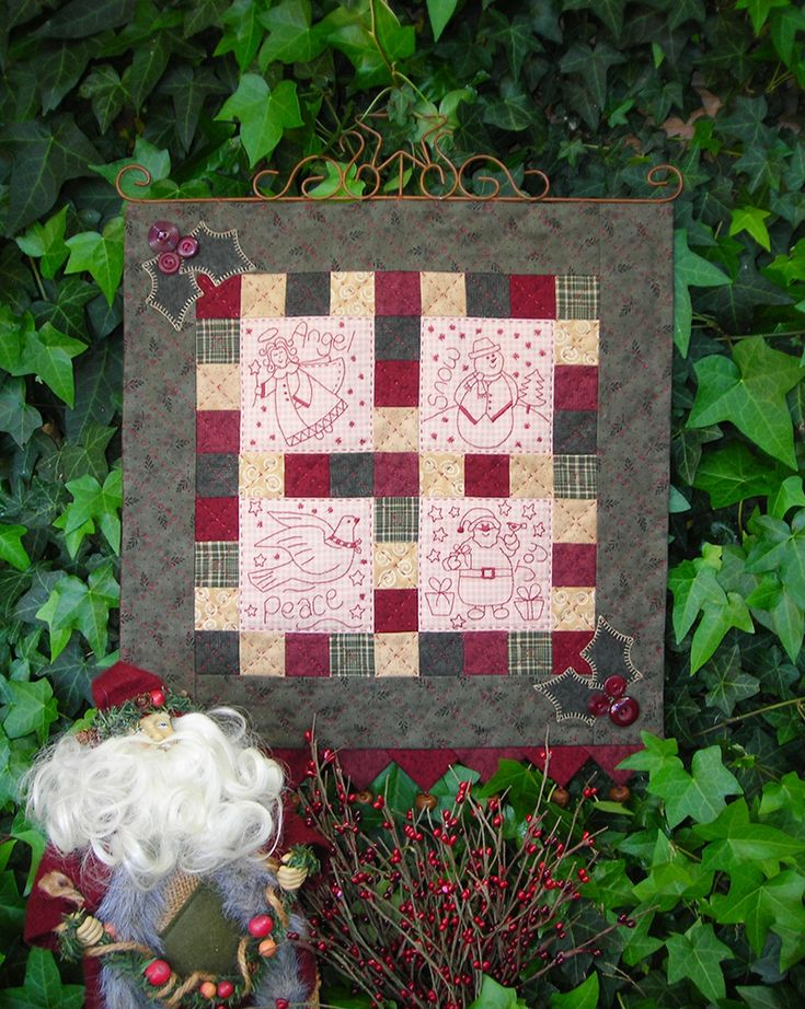 """""""Friends for Christmas"""" by Sally Giblin of The Rivendale Collection. Finished wallhanging size: 16"""" x 20""""   #TheRivendaleCollection stitchery, appliqué and patchwork patterns. www.therivendalecollection.com.au"""