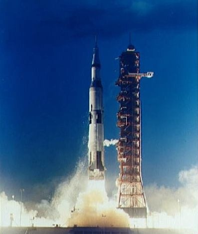 The unmanned Saturn/Apollo 4 (AS-501) mission, launched November 9, 1967, was the first unmanned test flight of the three stage Saturn V rocket. It carried a payload of an Apollo Command and Service Module (CSM) into Earth orbit.