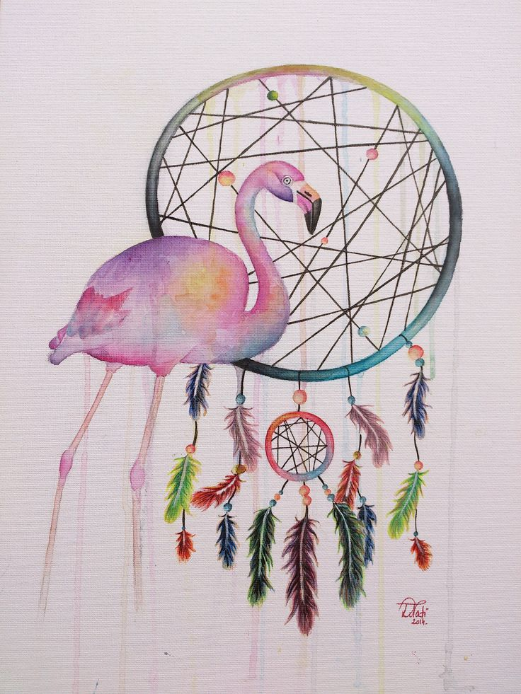 Flamingo with dreamcatcher