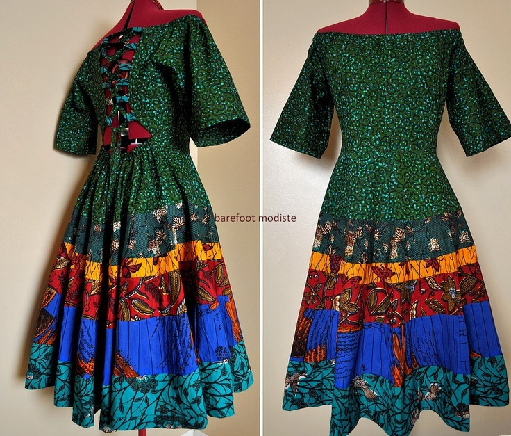 True Colors - Short African Patchwork Dress, One of a kind Gown, Corset back, Vibrant true colors,  can fit sizes - S to xL. $123.00, via Etsy.