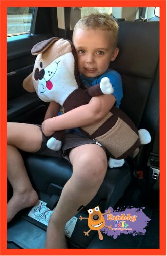 Attaches to Safety Belt so your little one wont mind wearing a Safety Belt.