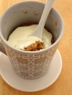 With this healthy mug cake recipe, you can eat a cinnamon roll for breakfast and not feel guilty! Made with oats and yogurt, this is a healthy breakfast.
