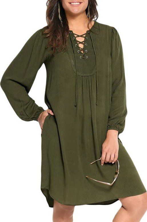 Robes Grandes Tailles Flare Olive Traverse Sangles Metalliques MB61345-9 – Modebuy.com
