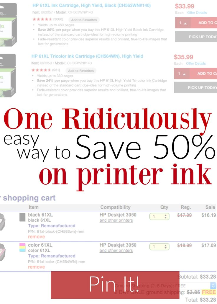 One EASY way to save on printer ink - tips you had no idea about too! This is where I get my ink from and I just saved $33 on my order of two cartridges - LOVE this! http://couponcravings.com/cheap-inkjet-printer-ink-as-low-as-5-35cartridge-shipped/