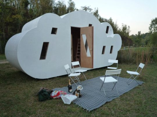The Cloud was created as a refuge from urban life and has an open living plan and integrated beds. There is no bathroom and cooking is done outside.