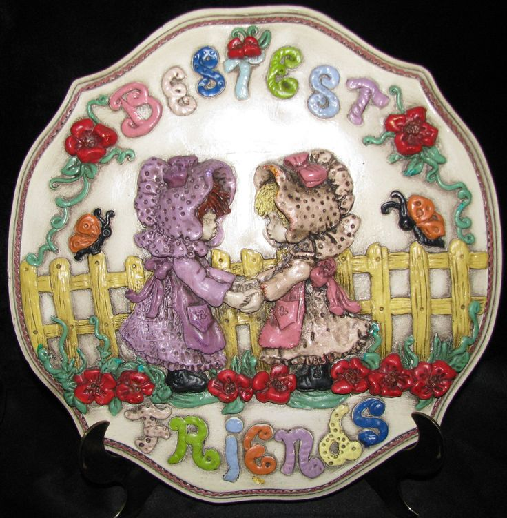Best Friends BFF Handmade Hanging Big Plate by LaGuanaquitasCloset on Etsy