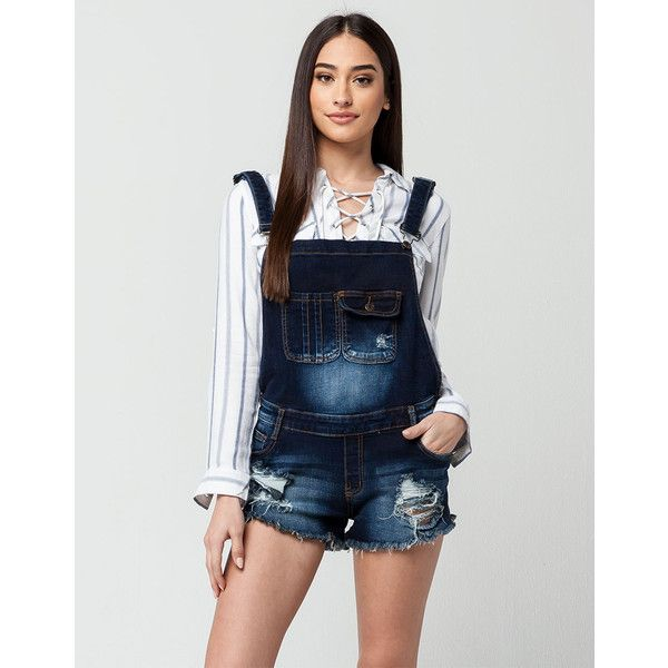 Machine Shortall Womens Denim Overalls ($15) ❤ liked on Polyvore featuring jumpsuits, white overalls, denim jumpsuit, denim short overalls, overalls jumpsuit and distressed overalls