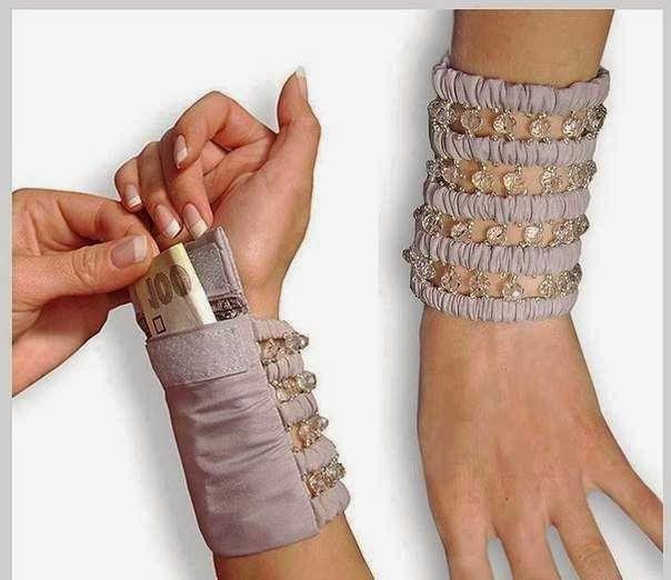Arte & Reciclaje: Pulsera con bolsillo. Gran idea para las niñas que no llevan cartera