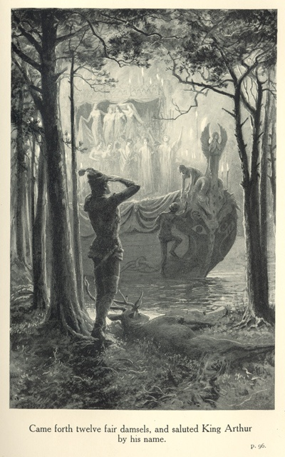 """""""Came forth twelve fair damsels, and saluted King Arthur by his name"""" from: The Legends of King Arthur and His Knights. 9th edition. Ed. Sir James Knowles, K. C. V. O. London; New York: Frederick Warne and Co., 1912."""