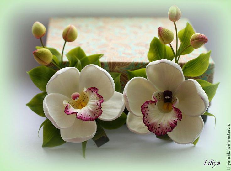Купить Орхидея с бутонами (мини)-зажим для волос - заколка с орхидеей, цветы ручной работы