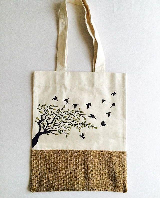 El boyaması bez çanta