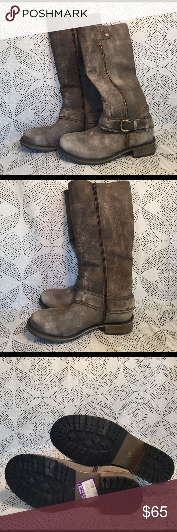 Brown grey leather boots New! Leather grey/brown knee high zip up . Cute with jeans or a dress comfortable rubber sole for all weather. matisse Shoes
