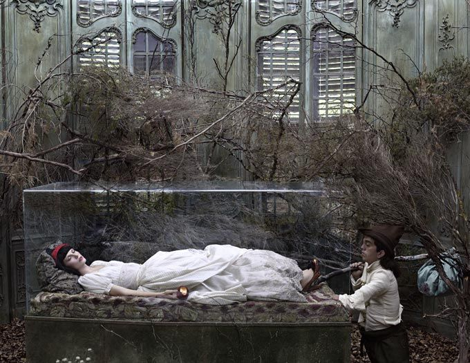 """Snow White by Eugenio Recuenco: Snow White's triple seeming-death and resurrection, beyond an amusement or wish-fulfilling temporary escape, fulfills the initiatory process of life, as Mircea Eliade described it: """"What is called 'initiation' coexists with the human condition, reaffirms the ultimate religious significance of life and the real possibility of a 'happy ending.'"""""""