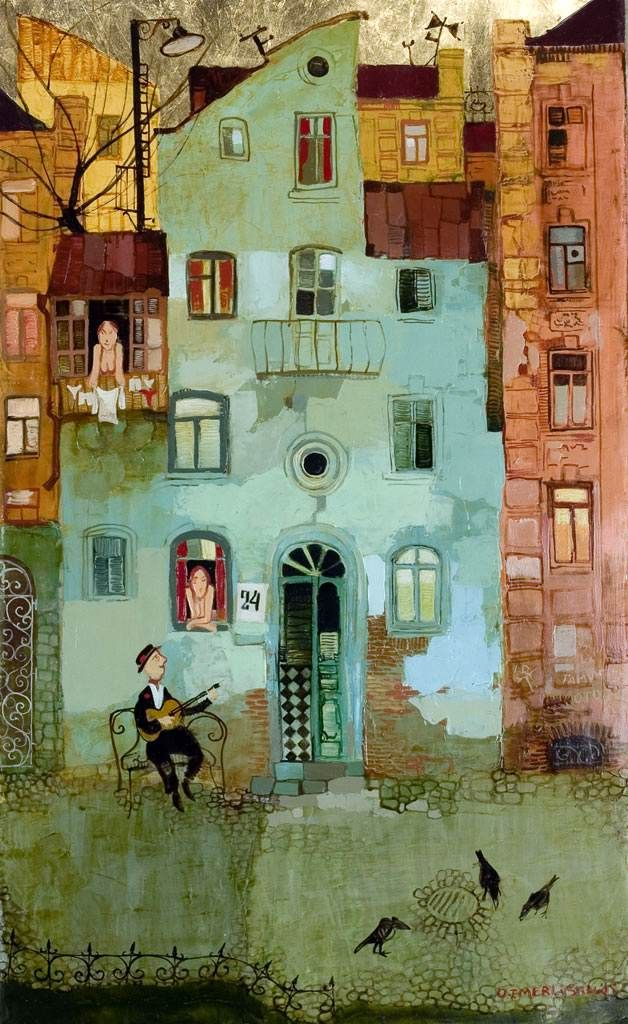 Warm colors, welcoming setting. Story telling through illustration...David Martiashvilli