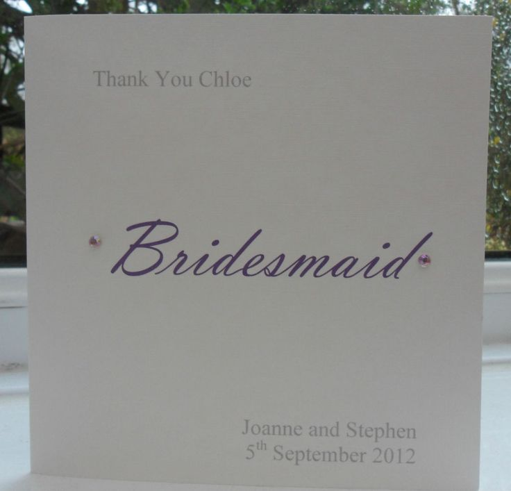 wedding custom thank you cards%0A Personalised thank you card wedding best man usher bridesmaid flower girl  etc