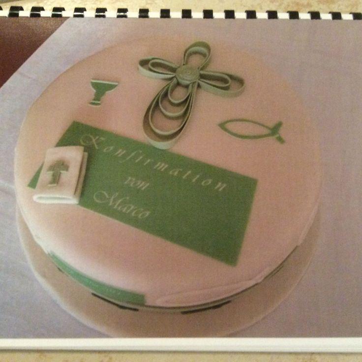 Kommunion torte gr n wei kommunion pinterest torte for Torte zur taufe selber machen
