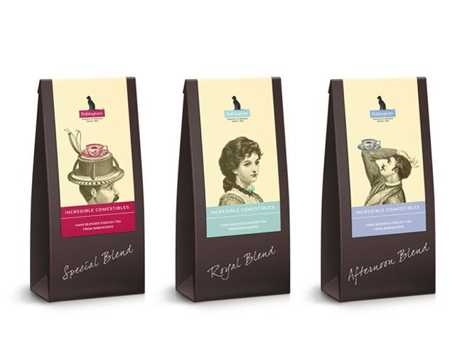 Babingtons English Tea Rooms. Harking back to tradition with the Victorian etching styled illustrations and script type, this set retains modernity through the use of bright block colours and humorous twists in the characters created.
