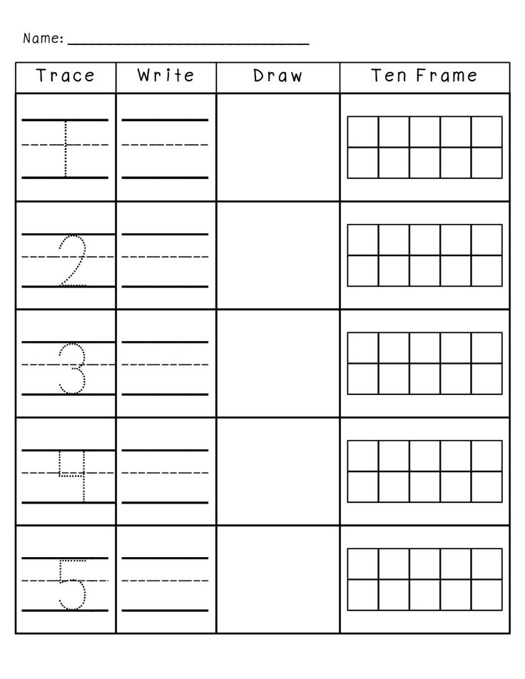 Number Practice 1-10: Trace, Write, Draw, Fill in Ten Frame.
