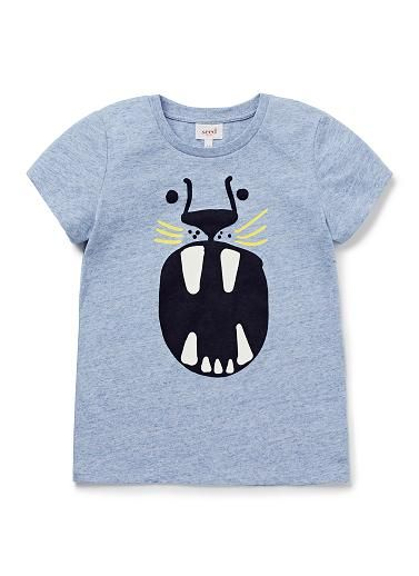 100% Cotton Jersey short sleeve tee featuring front flocked animal face print.