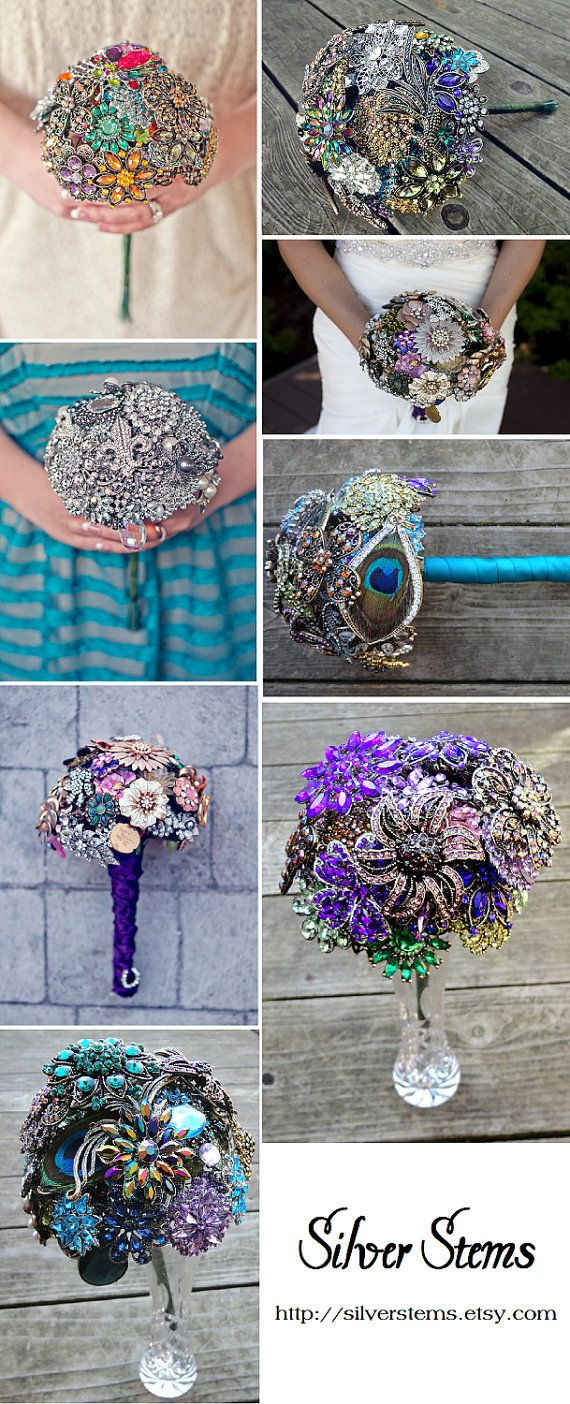 Brooch Wedding Bouquet Options by Silver Stems