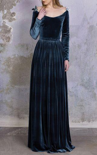 Plunging Neckline Velvet Gown by Luisa Beccaria | Moda Operandi