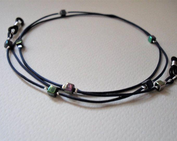 Navy Blue Eyeglass Necklace/Iridescent Beads/Lanyard Necklace/Glasses Holder Cord/Blue Glasses Chain/Eyeglass Chain/Spectacles Neck Strap