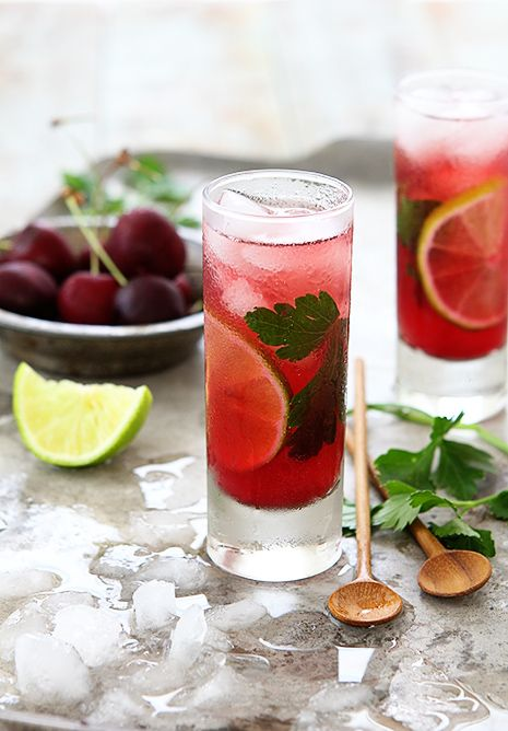 Cherry & Cilantro Mojito by Bakers RoyaleBackyards Games, Cilantro Limes, Laborday, Labor Day, Cherries Salad, Cocktails Drinks, Cilantro Mojito, Bakers, Arugula Salad Recipe