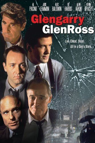 "Glengarry Glen Ross is a 1992 American drama, adapted by David Mamet from his 1984 Pulitzer Prize- and Tony-winning play of the same name, and directed by James Foley. The film depicts two days in the lives of four New York real estate salesmen and how they become desperate when the corporate office sends a trainer to ""motivate"" them by announcing that, in one week, all except the top two salesmen will be fired."