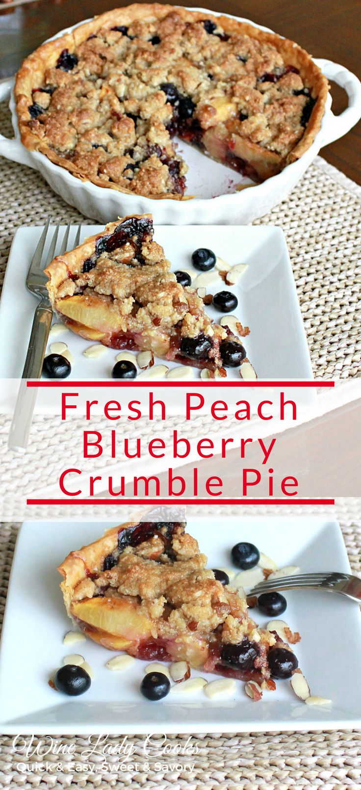 Air Fryer Fresh Peach Blueberry Crumble Pie recipe is easy to make any time. Or for any special occasion or holiday. Quick & Easy to make click through for the easy recipe. #airfryer #fruitpie #easyrecipe #dessert