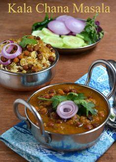 Punjabi Kala Chana Masala | Chole Recipe  Black chickpeas (kala chana) cooked in onion and tomato raso with Indian spices to make this delicious and popular chana masala.