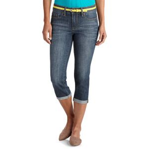 Faded Glory Women's Classic Denim Belted Cuffed Capris $14.44 includes the belt (and it actually fits), 3 color choices and sizes 4 to 18 (buy all 3 and spend under $50 and mix and match the belts). These are women's jeans that are roomy and not low rise and very comfortable. At Walmart. Add a cheap tank top and flip flops and you have a very inexpensive outfit.