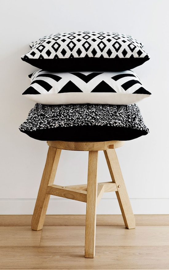 Black and white cushions from Country Road.