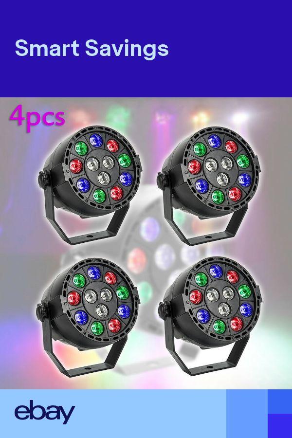 4PCS RGBW 12LED Stage Light DMX Par CAN DJ Disco Club Lighting Effect Strobe UK
