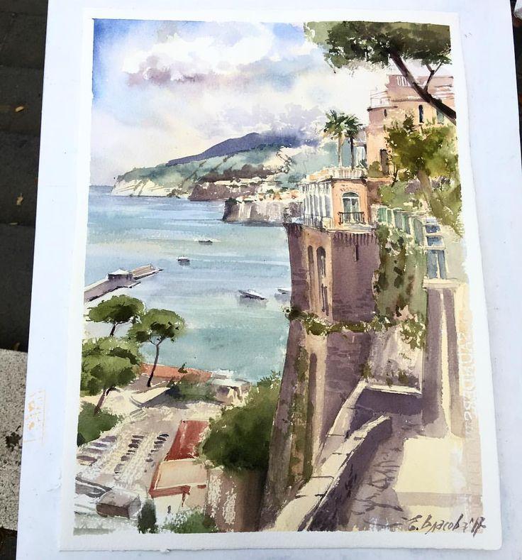"Watercolor cityscape landscape by Елена Власова (@eva_vla) on Instagram: ""Этюд номер один)) #этюд #зарисовка #italy #сорренто #sorrento #watercolor #акварель…"""