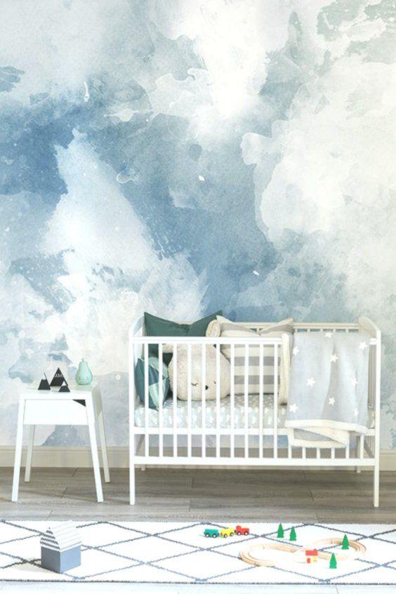 Blaue Und Weisse Aquarell Wallpaper Aquarell Tapete Blau Und