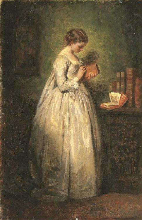books0977:  Jeune fille lisant (1857).Charles Chaplin (French, 1825-1891). Oil on canvas. The figure had an irresistible attraction for Ch...